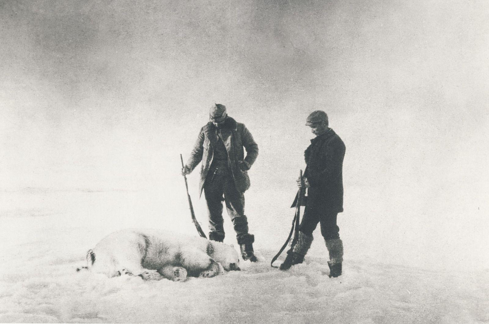 Fraenkel och Strindberg, med skjuten isbjörn.