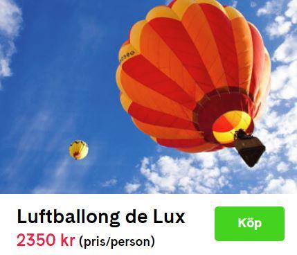 Flyga luftballong två personer presentkort