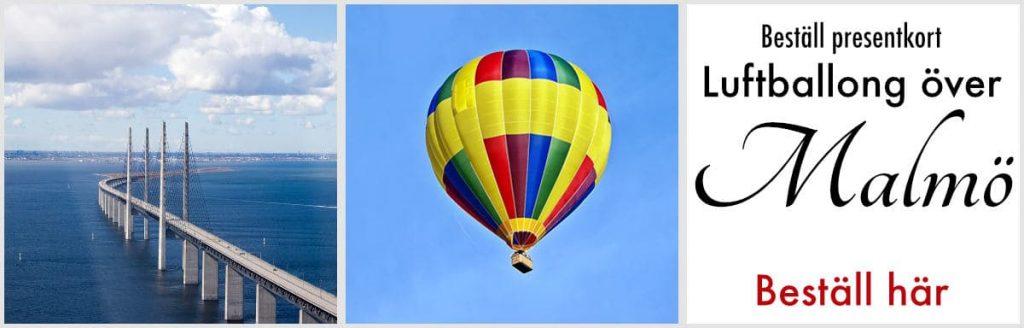Boka luftballongfärd över malmö med presentkort